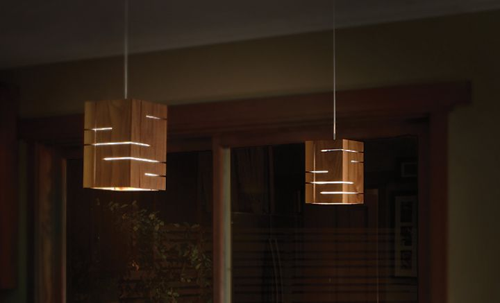 Подвесные деревянные светильники в тёмном цвете Claudo