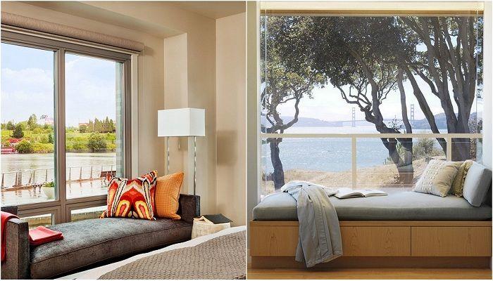 Przekształcenie pokoju z sofą przy oknie.