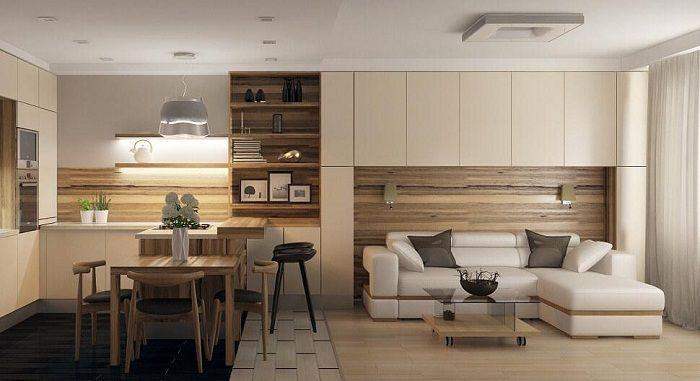 Интересно решение за комбиниране на интериора на хола и трапезарията, което ще оптимизира пространството до максимум.