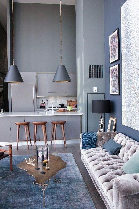 Оптималното и много интересно решение за декориране на пространството в къщата благодарение на нюансите на сивото.