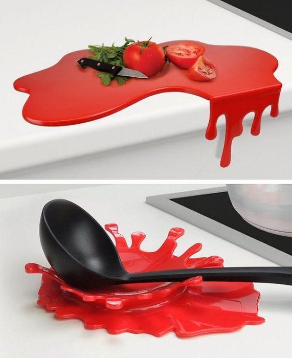 Et uvanlig alternativ å lage et så originalt skjærebrett og stå for kjøkkenutstyr.