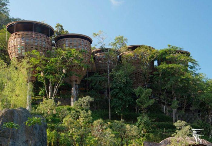 Chambres d'hôtel conçues sous forme de nids d'oiseaux.