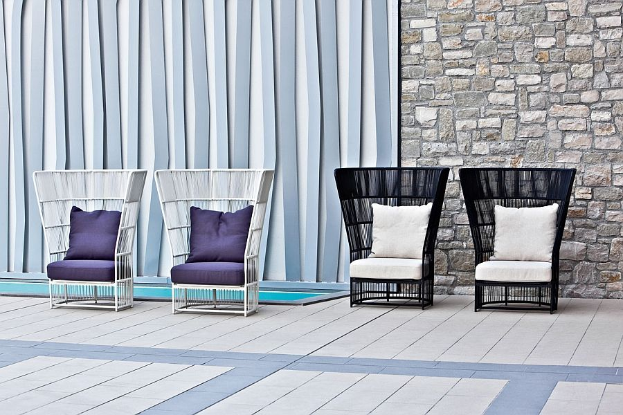 Wicker chairs on the terrace