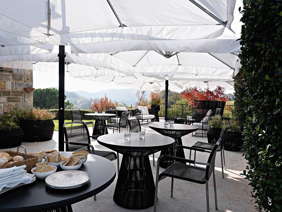 Black furniture on the terrace