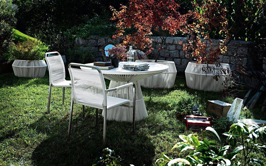 White wicker garden furniture