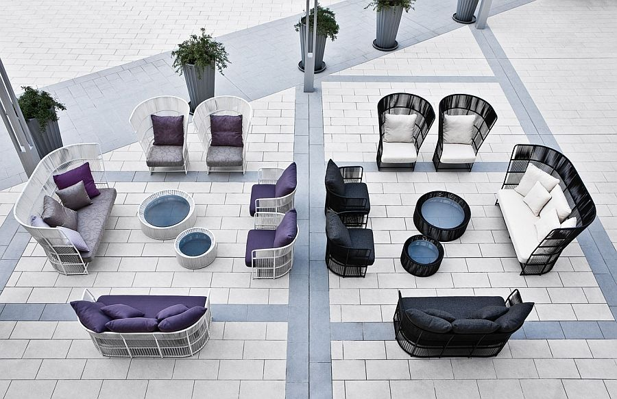Purple and black wicker furniture outdoors