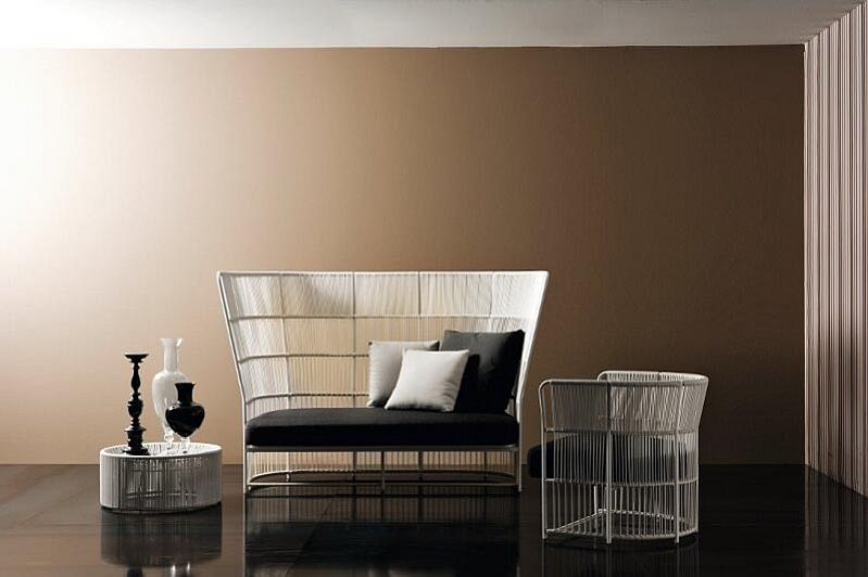 Wicker furniture in the living room interior