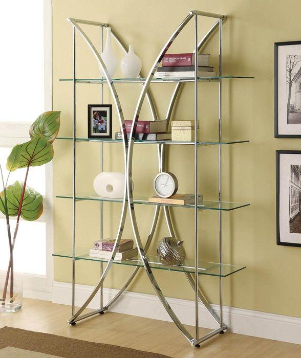 Творческите рафтове от стъкло ще бъдат най-добрият вариант за декор.