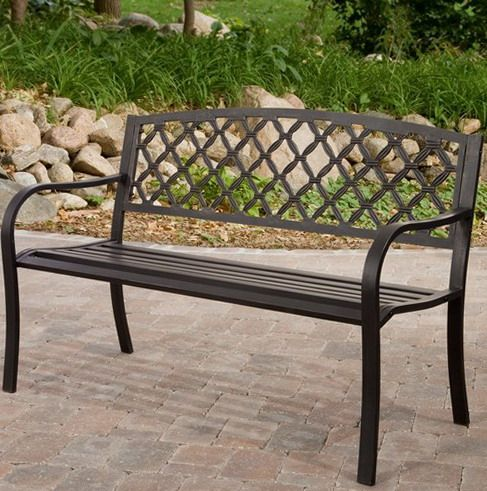Beautiful back at the metal bench