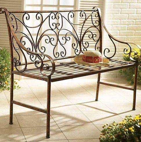 High backrest metal bench