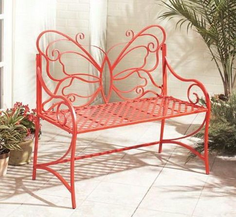 Red bench with butterfly back