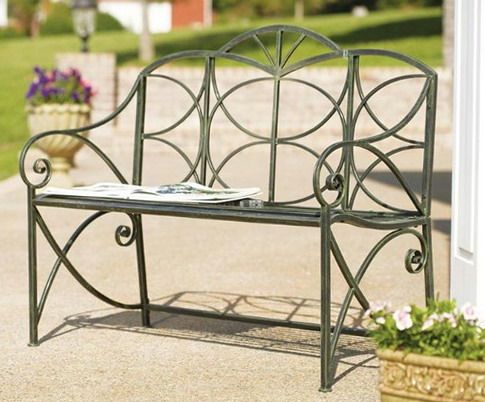 Green metal bench