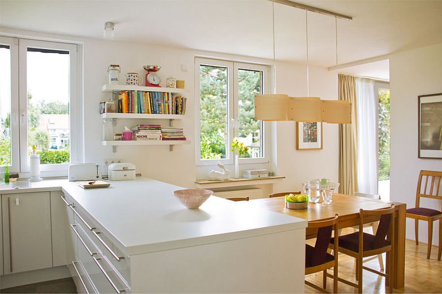 Nydelig skulpturell pendellampe på kjøkkenet