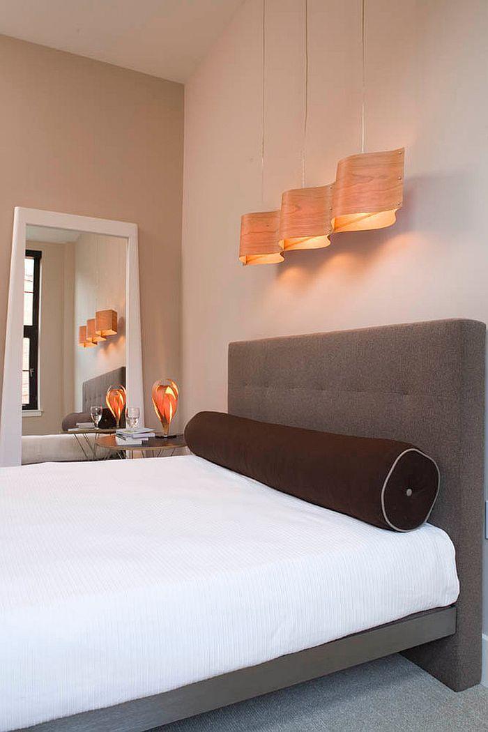 Замечательный скульптурный подвесной светильник в спальне