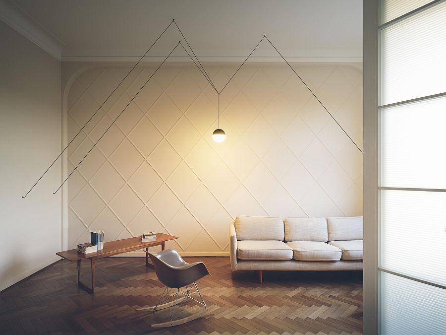 Современные дизайнерские светильники в гостиной