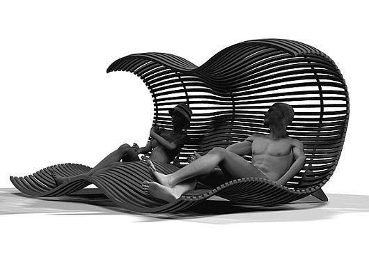 Илюстрация за сядане на хора на двоен шезлонг