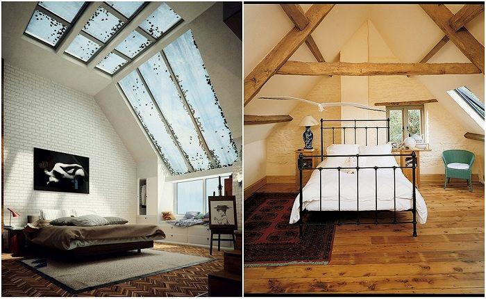 Примеры оформления комнат под чердаком.