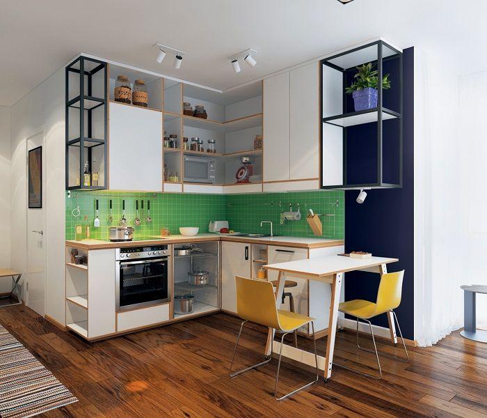 Интериорът на кухнята е декориран в минималистични тенденции.