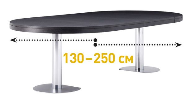 Трансформированный овальный обеденный стол