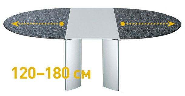 Трансформированный металлический обеденный стол