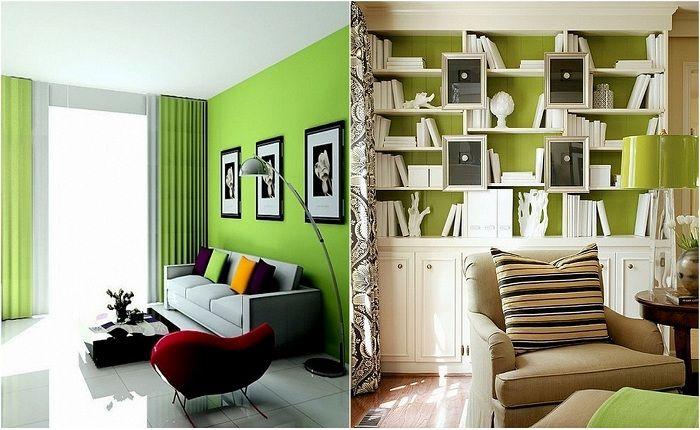 Dekoracja pokoi w odcieniach zieleni.