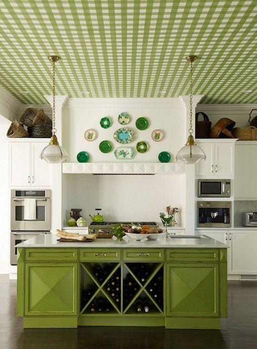 Doskonały przykład wystroju kuchni w kolorze zielonym.