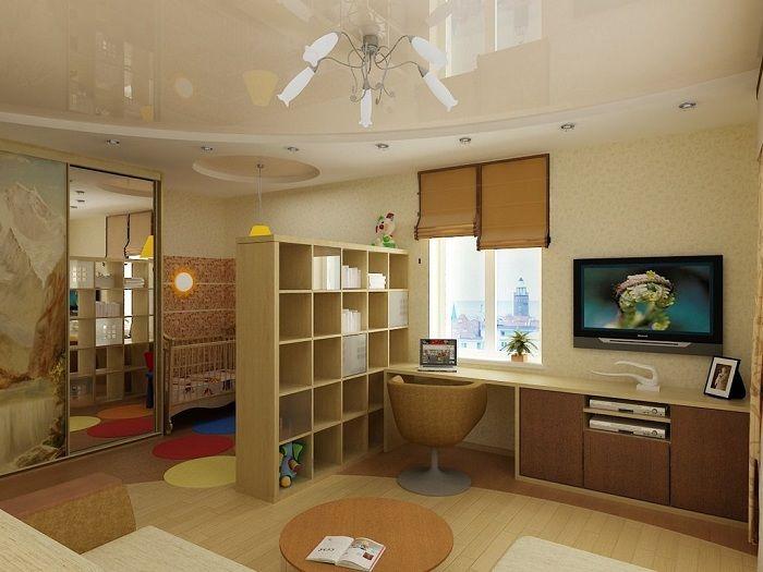 Гостиная оформлена в теплых и приятных тонах.