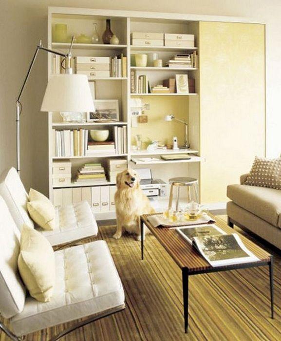 Гостиная оформлена в светлых тонах, что позволит создать комфортную обстановку и подарит только положительные эмоции.