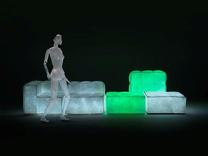 Alkuperäiset huonekalut, joissa valaistus