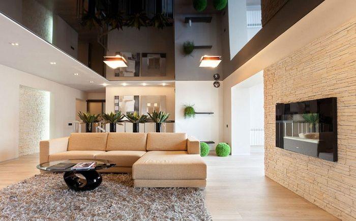 Отличный пример декорировать интерьер гостиной в очень теплых тонах, что понравится.