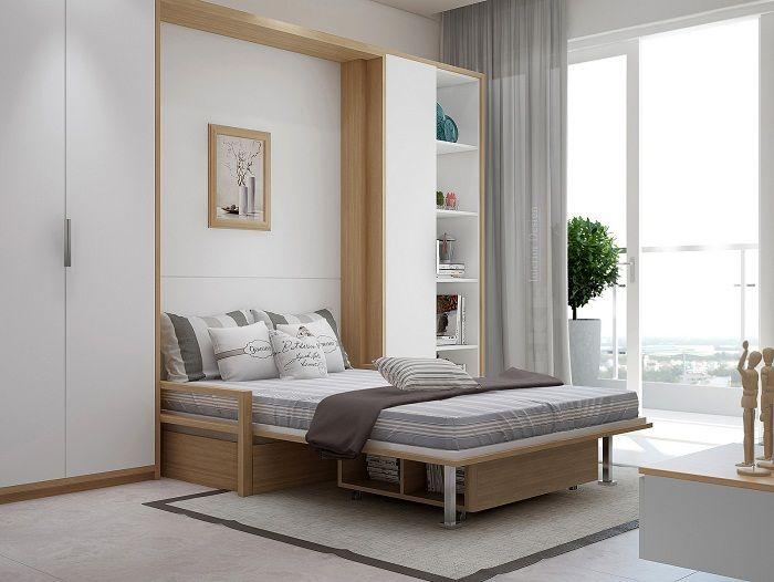 Красивый интерьер спальной создан благодаря просто отличным и практичным решениям.
