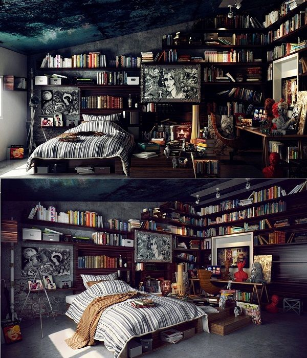 Интерьер спальной создан в темных тонах, что выглядит просто потрясающе.