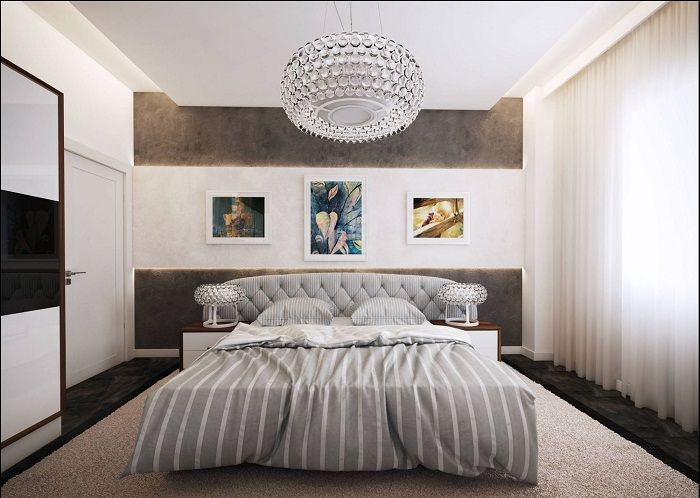 Крутой пример оформления спальной с добавлением серых оттенков.