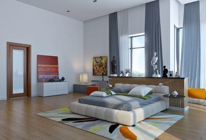 Красивый дизайн спальной с большой площадью, которая оформлена в современных тенденциях.