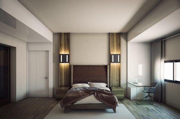 Крутой пример оформления спальной, что станет просто лучшим решением для дизайна комнаты такого плана.