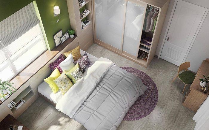 Симпатичный и уютный интерьер спальной, что выглядит очень опрятно.