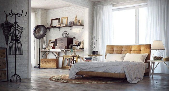 Спальня оформлена в современных тенденциях с кирпичной кладкой, что украсит интерьер определенно.
