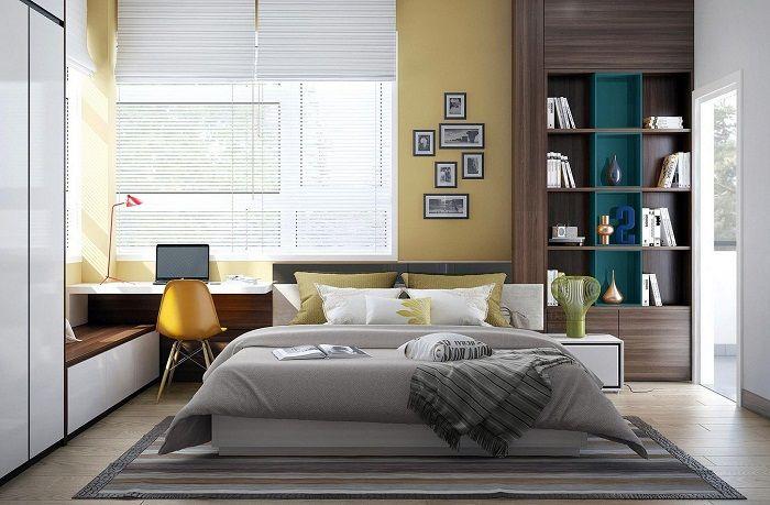 Прекрасный вариант оформить интерьер спальной с помощью горчичного цвета.