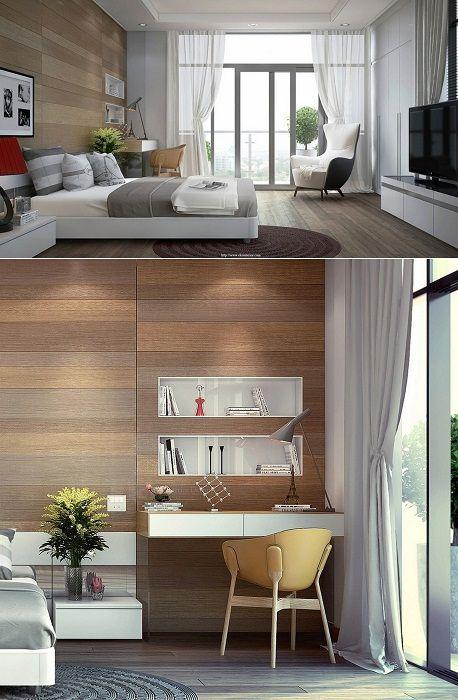 Крутой пример оформления спальной декорированной с помощью дерева.