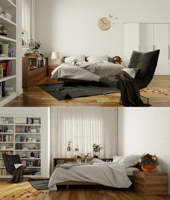 Хорошенький вариант оформления комнаты для сна с помощью современных тенденций.