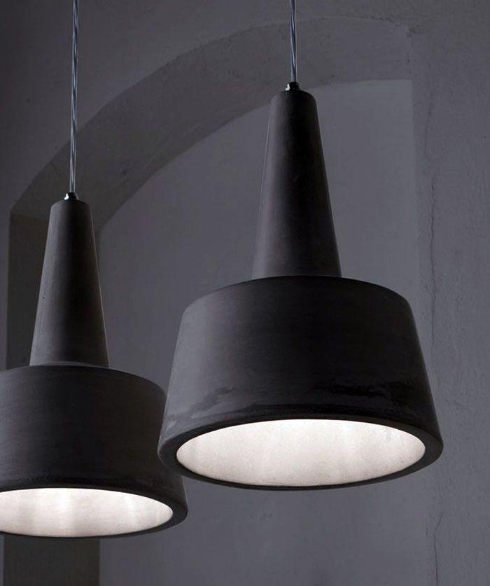 Черные светильники Cement Pendants от Райнера Мутча