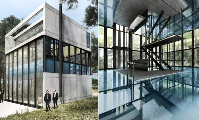 Вила Clessidra е концептуална вила със стъклен басейн на втория етаж.
