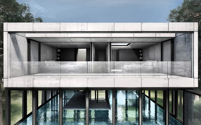 Villa Clessidra - концепт виллы из бетона, стекла и стали.