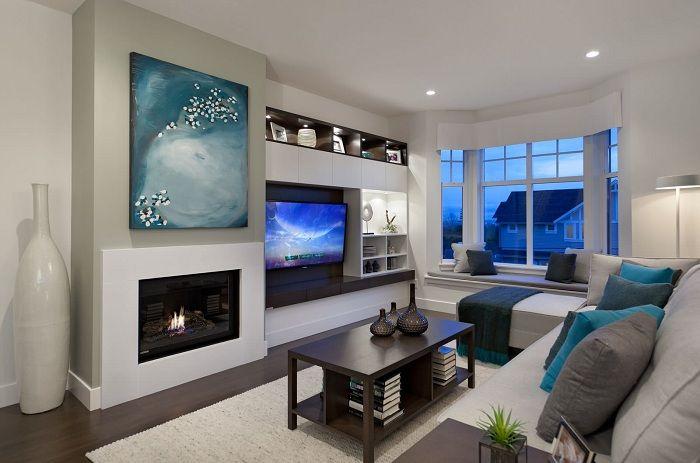 Добър вариант за декориране на хол с зона за гледане на телевизия.