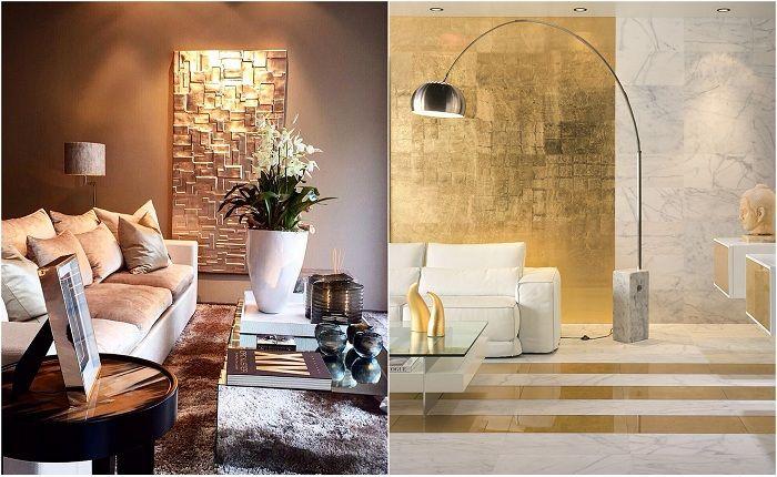 Eksempler på interiørdesign med gull aksenter.