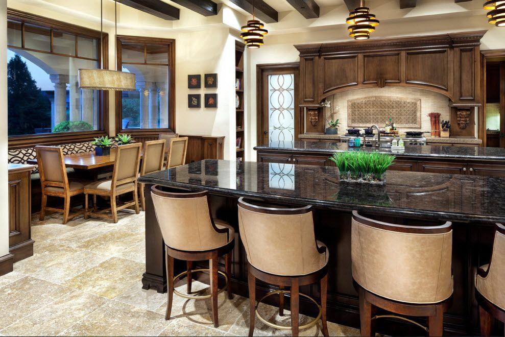 Природные тона в кухне-столовой