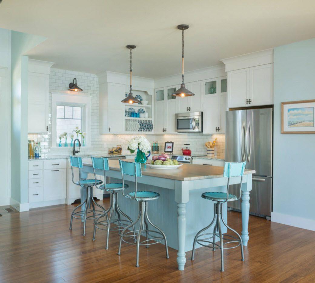 Кухня в светлосини цветове