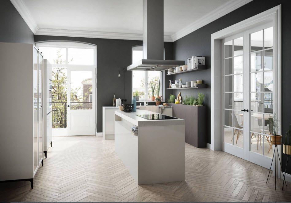 Kreativ design av et stort kjøkken