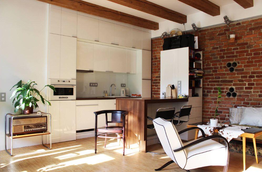 Кухня и гостиная в стиле лофт