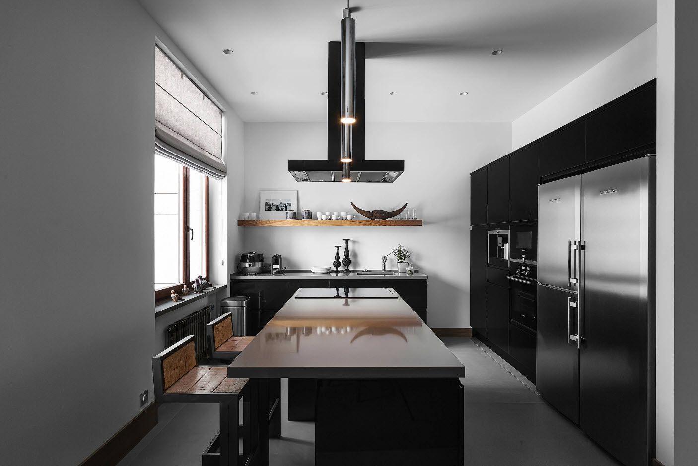 Черно-бял кухненски интериор